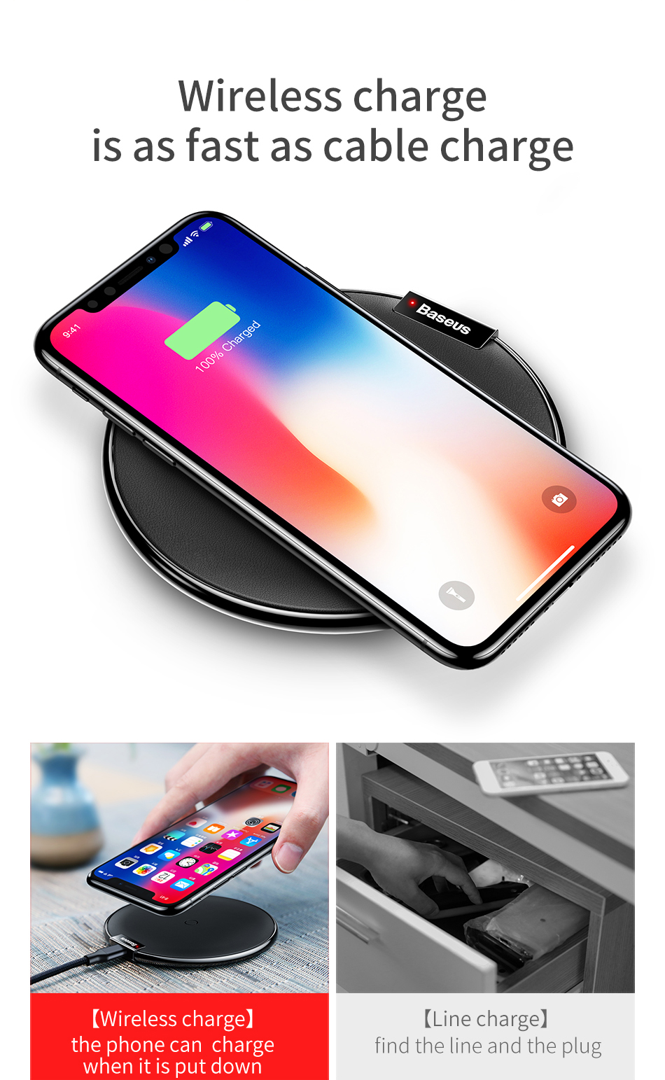 Baseus Qi Wireless Charger For iPhone X Xs Xs Max Leather Fast Wireless Charging For Samsung Note9 Desktop Wireless Charger Pad 3