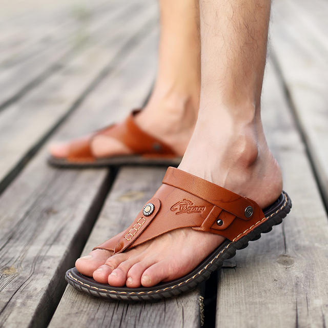 Men's Summer Genuine Leather Flip-Flops Slippers Beach Sandals Casual Shoes Moccasins Men Sandals Summer 3