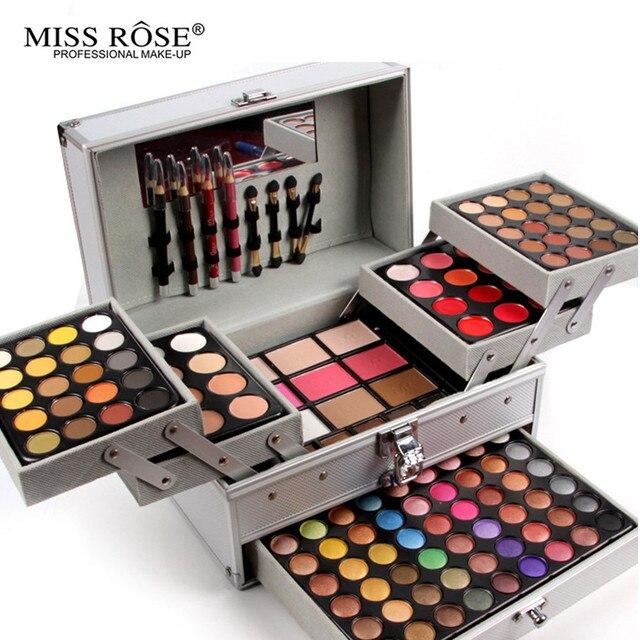 Miss rose pro 132 a todo color de sombra de ojos placa de moda las mujeres bolsa de cosméticos de maquillaje paleta de maquillaje caja de maquillaje artista dedicado