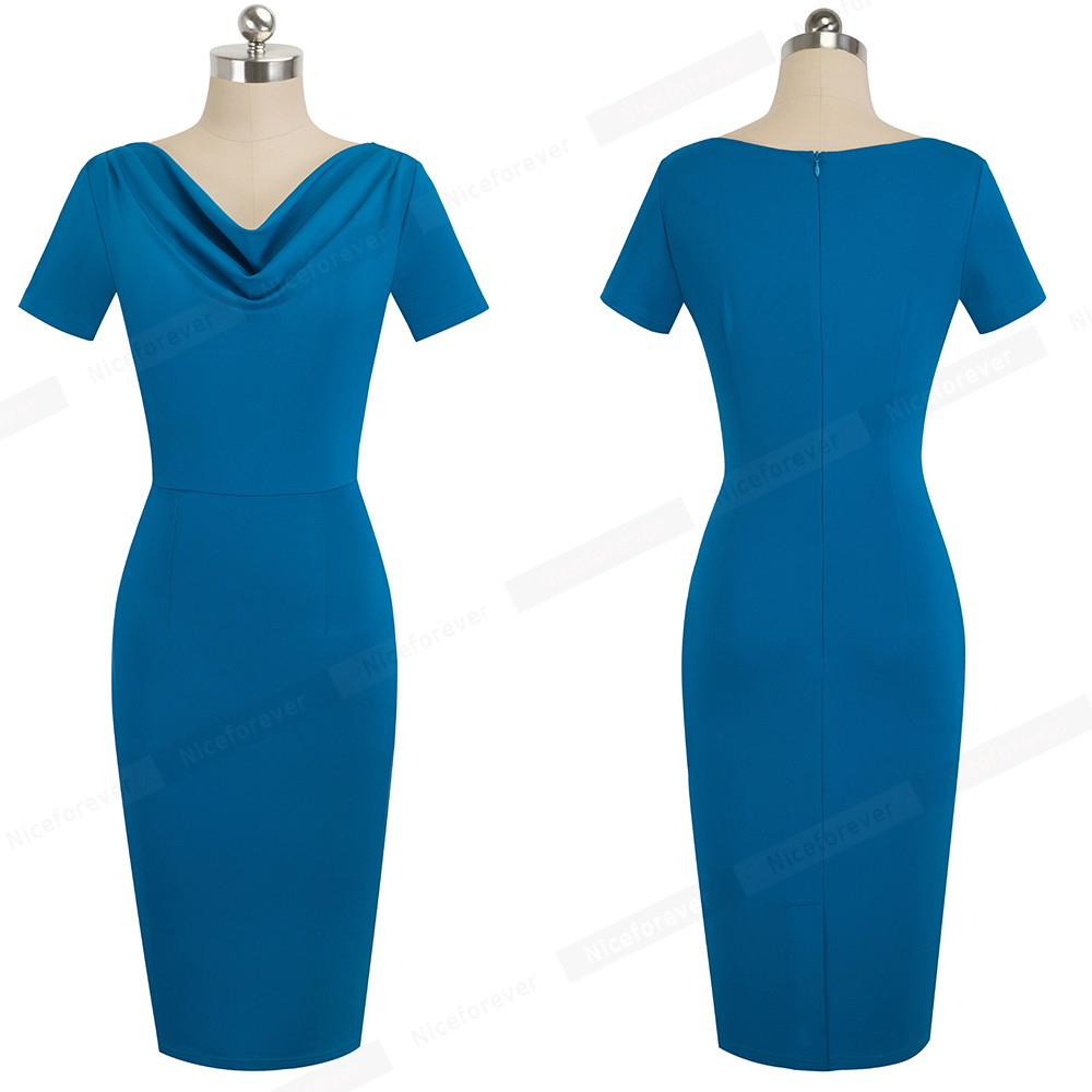 Nice-forever Women Vintage Wear to Work Elegant vestidos Business Party Bodycon Sheath Office Ruffle Female Dress B452 38