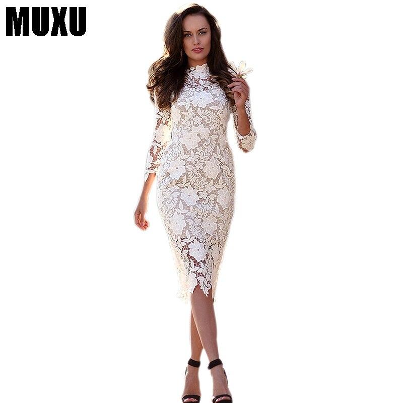 7133e6cbe MUXU de encaje blanco vestido de moda vestidos mujeres ropa vestidos  bodycon elbise moda femenina ...