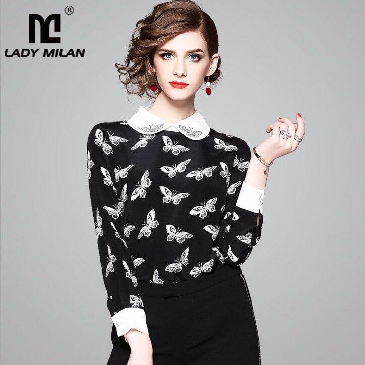 New Arrival 100% Silk 2018 Womens Beaded Peter Pan Collar Long Sleeves Printed Butterflies Designer Shirts