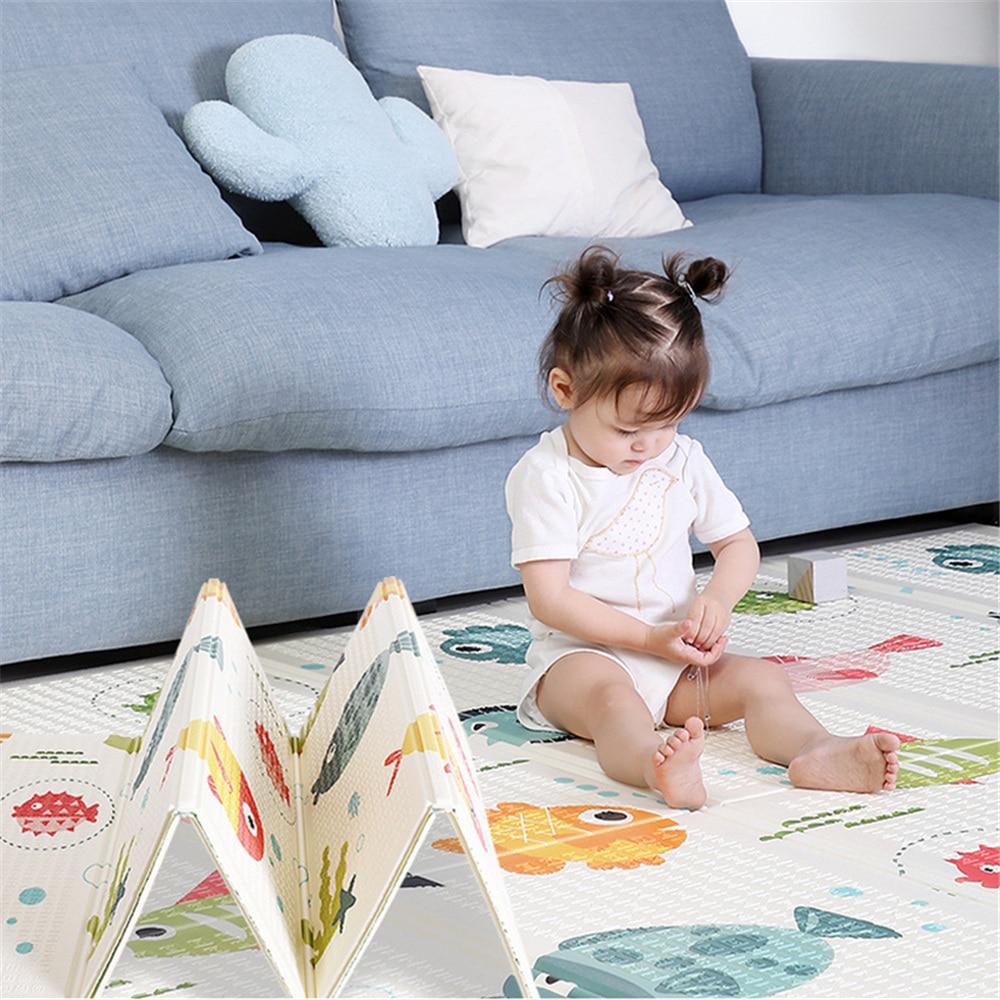 Baby Play Mat  180*200*1 Cm Crawling Mat Double Surface Baby Carpet Rug Water-Resistant Game Pad Xpe Foam Crawling Mat Fish+word