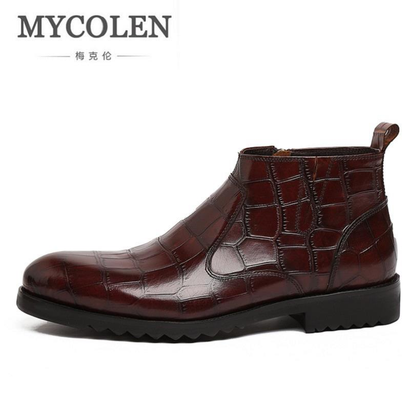 MYCOLEN Brand Men Boots Stone Pattern Leather Snow Boots Casual Men Autumn Shoes Comfortable Winter Waterproof Ankle Boots northmarch autumn winter retro men boots comfortable zipper brand casual shoes leather snow boots shoes dark red bota masculina