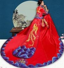 Chinese dragon phoenix Suzhou Embroidery gown Fashion show High Quality China traditional elegant bride wedding cheongsam dress