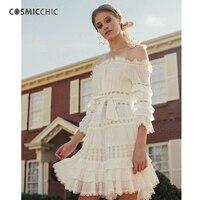 Cosmicchic Haute Couture Boho мини платье с открытыми плечами лотоса рукава Цельнокройное платье открытое праздничное платье vestidos сексуальная ly209
