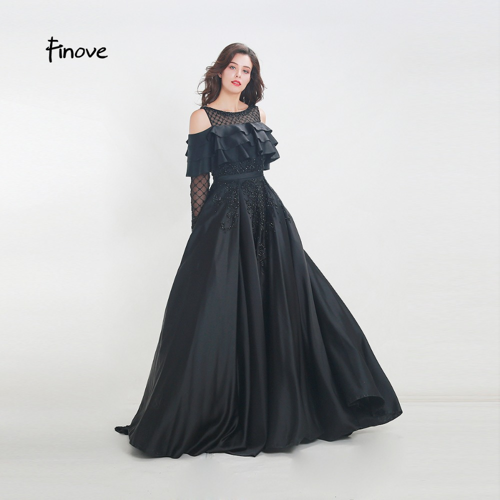 5263fa278c Finove 2019 New Evening Dress Long Vintage Black Chic Ruffles Fully Beaded  A Line Floor Length Woman Dress Halloween Party Gown