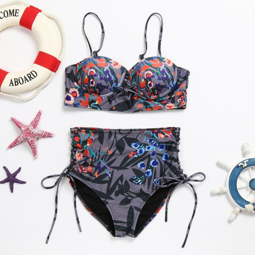 snowshine3 YLI Womens Girls Lady Costume Padded Swimsuit Floral Monokini Swimwear Bikini Set free shipping