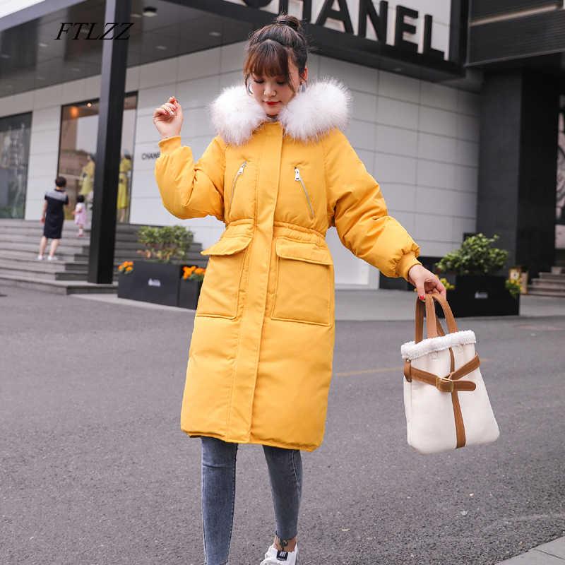 FTLZZ зимние женские парки на 90% белом утином пуху большой воротник из натурального меха с капюшоном, пуховик, пальто женская верхняя одежда на молнии желтого цвета