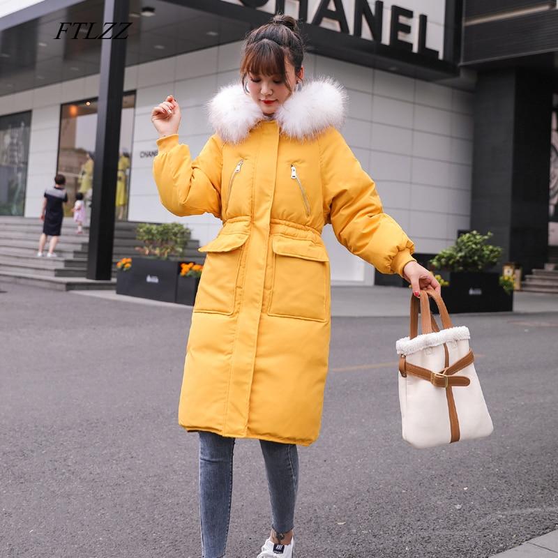 FTLZZ Winter Women 90% White Duck Down Parkas Large Natural Fur Collar Hooded Down Jacket Coat Female Zipper Yellow Outerwear