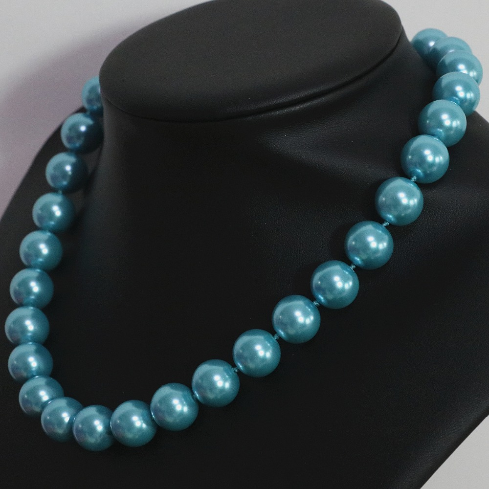 High quality sky blue shell simulated-pearl round beads 8,10,12,14mm romantic noble women clothes chain necklace 18inch B1445