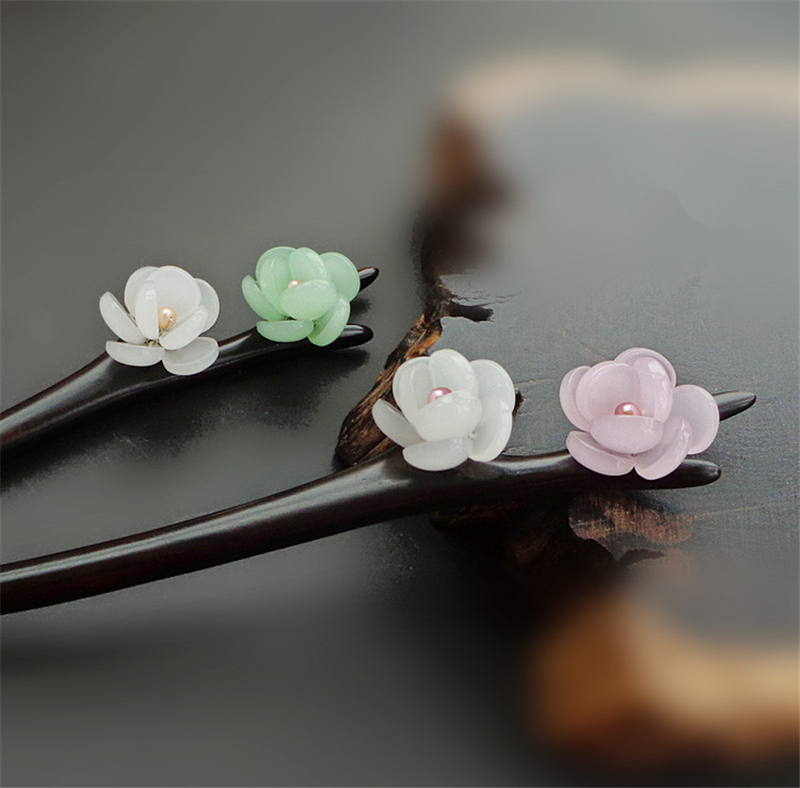 Ebony Hair Stick Fresh Water Pearl Azure Stone Flower Sticks Hair Pin Chinese Jewelry Vintage Wooden Hair Accessories WIGO0793 jadite chinese painting ink hair stick original vintage handmade classical hanfu hair accessory hair stick antique copper stick