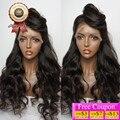8A Brasileiro Virgem Cabelo Peruca Dianteira Do Laço da Onda Do Corpo Cheia Do Laço Humano Perucas de cabelo Para As Mulheres Negras 130 de Densidade de Cor Natural U Parte Peruca