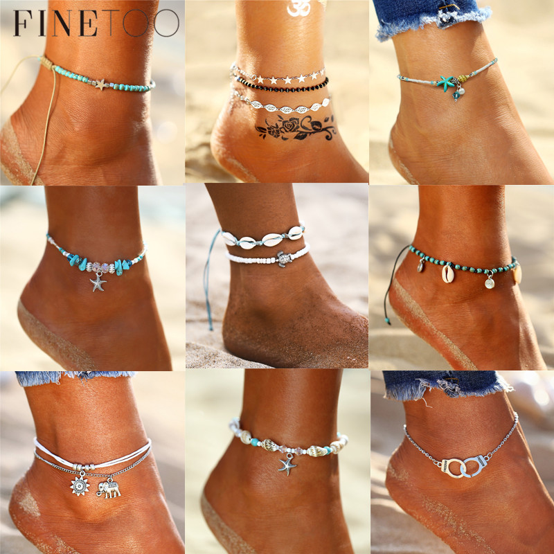 Boho Summer Ocean Beach Cowrie Shell Ankle Bracelet Beads Stone Multi Layers Anklets For Women Foot Leg Jewelry 2019