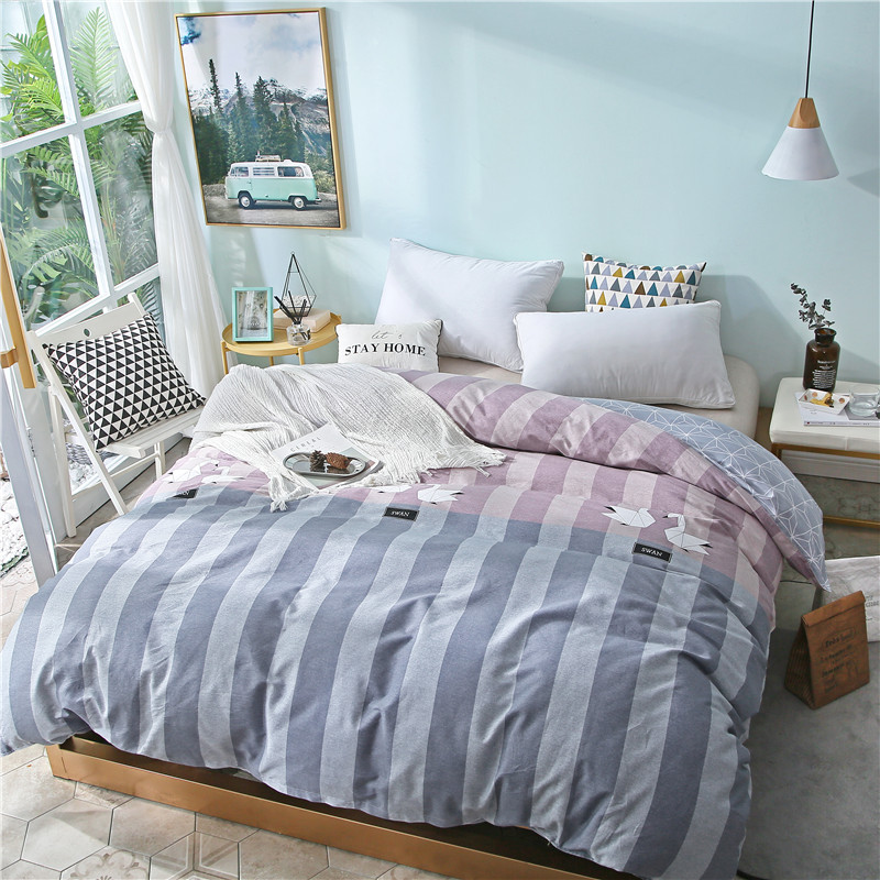 Double Stylish Blue Stripe Pattern Duvet Covers With Zipper 100% Cotton Soft Comforter Cover 1 Piece Queen King Size Quilt Cover