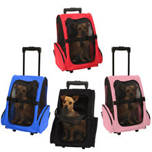 Pet Carrier Dog Cat Rolling Back Pack Travel Airline Wheel Luggage Bag Pouch Backpack Pet Travel Carrier Bags