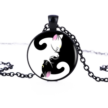 1pcs/lot Yin Yang Cat Logo Pendant Necklace Personalized Animal Picture Handmade Vintage Necklace Women Jewelry Friend Gift HZ1