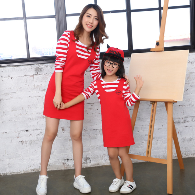 1pc Set Mother & Daughter Dresses Clothes Parent-child Clothing Fake Two-piece Strap Dress for Spring Autumn