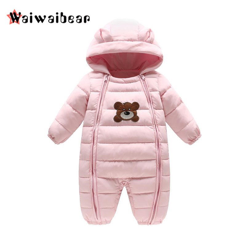 Winter Baby Girls Boys Rompers Thick Warm White Duck Down Baby Hooded Jumpsuit Newborn Outwear Coat Infant Snowsuit 2018 new winter baby boys girls warm rompers newborn baby 90% white dusck down hoodie clothes infant outwear jumpsuit snowsuit