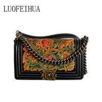 LUOFEIHUA 2019 new fashion small fragrant wind bag Handmade leather carving ladies shoulder bag Famous brand chain bag female