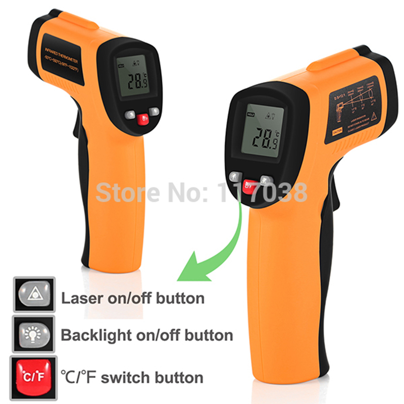 -50 ~ 900 degreeRed Digital Thermometer Laser Infrared Thermometer Non-Contact IR Pyrometer LCD Temperature Meter Gun Point an550 laser lcd digital ir infrared thermometer temperature meter gun 50 500c 58 1022f non contact temperature meter gun