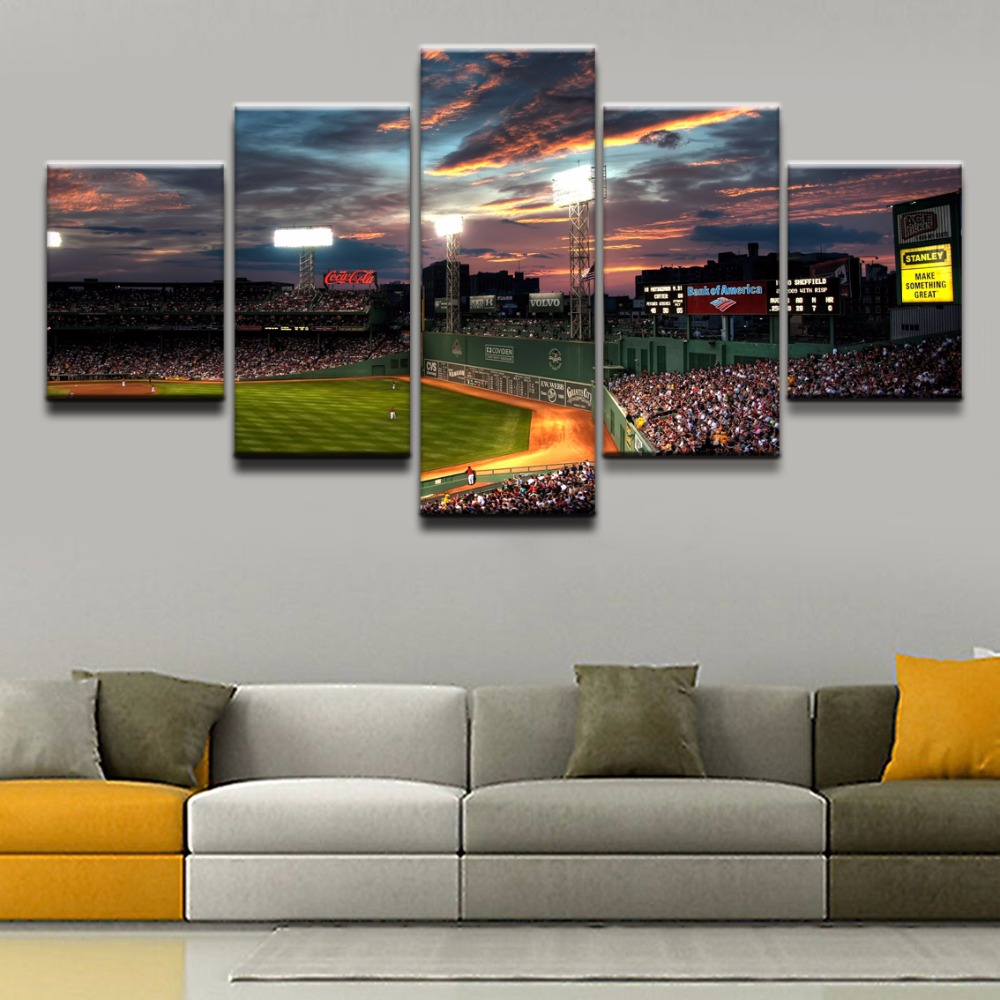Canvas Wall Art Modular Pictures Home Decor Living Room 5 Pieces Sports Fenway Park Painting Framework HD Prints Poster Artwork