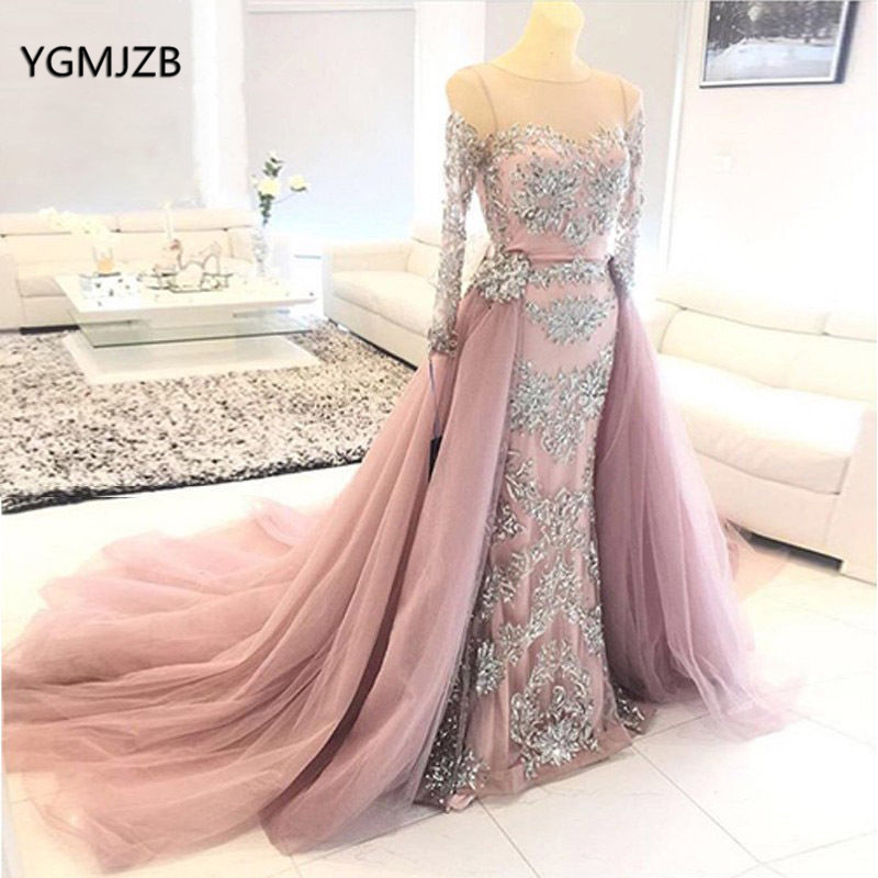 Vintage Mermaid   Evening     Dress   Long Sleeves 2018 Sheer Neck Applique Lace Beaded Formal Prom Gown Removable Train Robe De Soiree