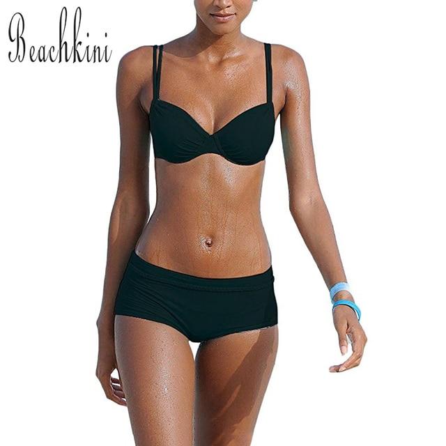 a88999c1a9 Sexy Solid Bikini Boyshorts Swimsuit Sport Swimwear Women Push Up Bikinis  Set 2019 Brazilian Biquini Beach Bathing Suits