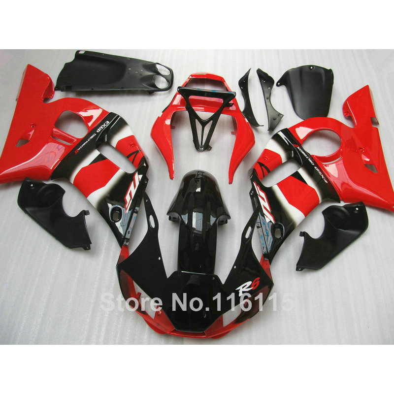 ABS motorcycle parts for YAMAHA 1998-2002 YZF-R6 fairing kit YZF R6 98 99 00 01 02 red black fairings set NX69