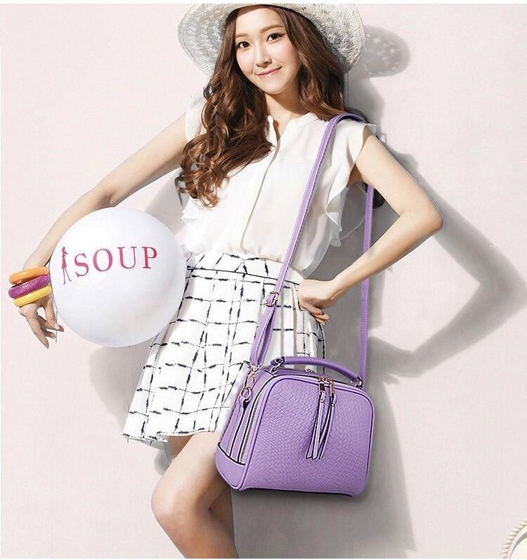 2015 Autumn New Arrival Women Weave Tassel Women PU Leather Handbags Women Shoulder Bag Ladies Casual Messenger Bags BH1150 (3)