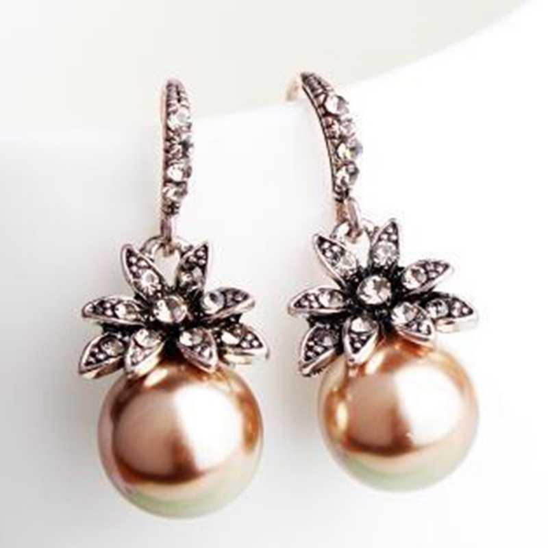 太陽の花模造真珠クリスタルブラブライヤリング女性のファッションジュエリーアクセサリー Brincos ドロップ無料