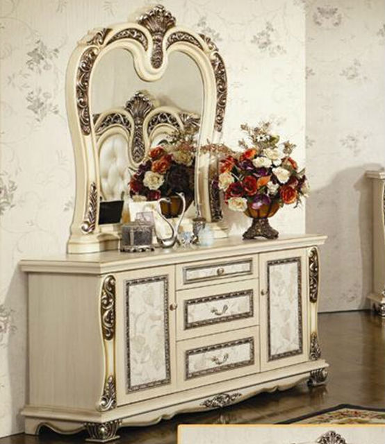 Luxury suite bedroom furniture of Europe type style including 1 bed 2 bedside table 1 chest a dresser and a makeup chair