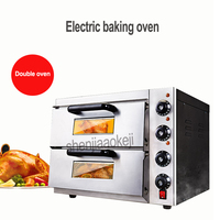 220v 3kw 1PC Commercial thermometer Electric double pizza oven/mini baking oven/bread/cake toaster hot Plate Oven WL002