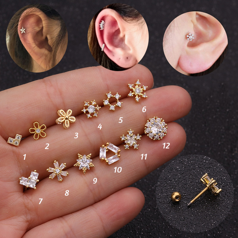 Snowflake lip tragus cartilage helix bar ear stud 8mm