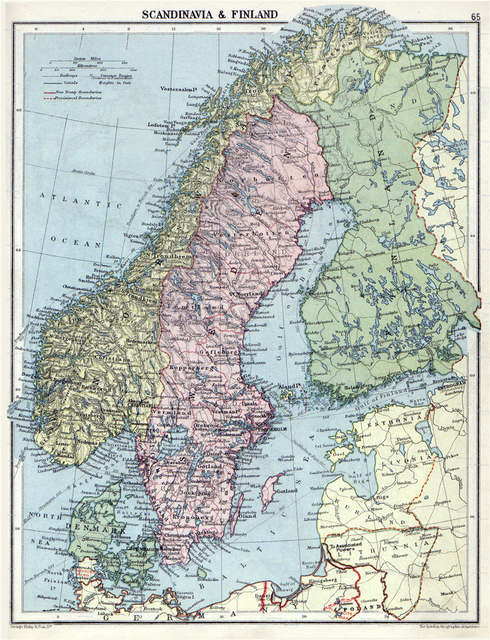 Large Detailed Old Political Map Of Scandinavia With Relief 1920