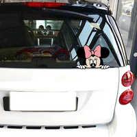Accessoires de voiture Aliauto Mickey Mouse Minnie Peeking dessin animé autocollant de voiture drôle et décalcomanie pour moto Volkswagen Golf Ford Focus