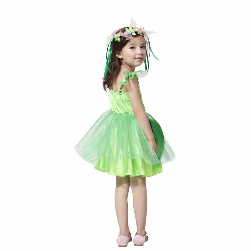 Marvelous ... Girls Green Fairy Tinkerbell Costumes Halloween Dress Avenue Neverland  Garden Fairy Kids Costume Lovely Woodland Dress