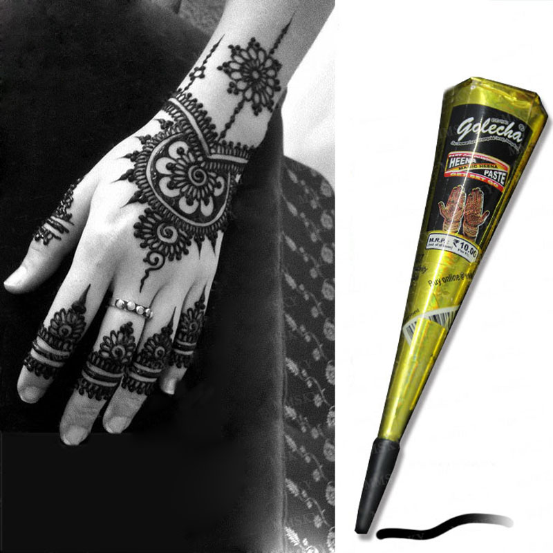 Mehndi Makeup Review : Golecha brand body tattoo tool kit waterproof sexy black