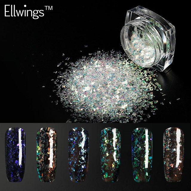 Ellwings Chameleon Nail Sequins Cloud Paillette Irregular Glitter Powder Flakes Use With Black Gel Polish