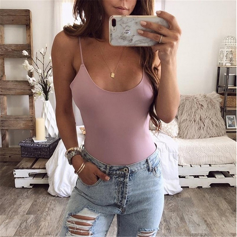 Professional Sale 2019 Sexy Bodysuits Women Slim Sexy Solid Color U Shaped Spaghetti Straps Bodysuits Women Summer Sleeveless Rompers