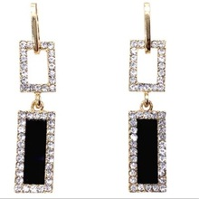 Fashion creativity long geometric earrings fashion wedding birthday square design hanging alloy studs