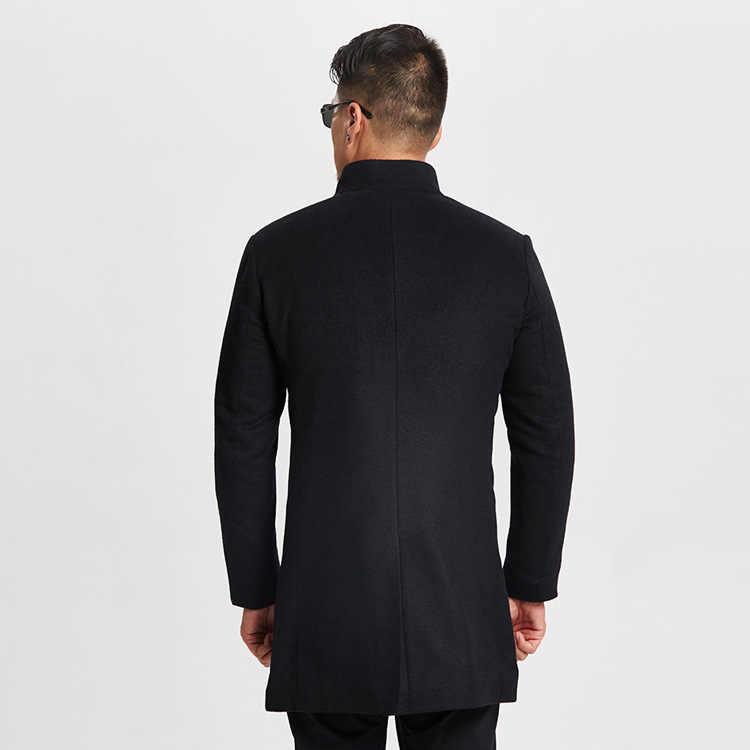 Осень-зима теплый Тренч Для мужчин сгущать Шерсть Высокое качество классические длинные кашемировое пальто со стоячим воротником Для мужчин s шерстяная одежда пальто