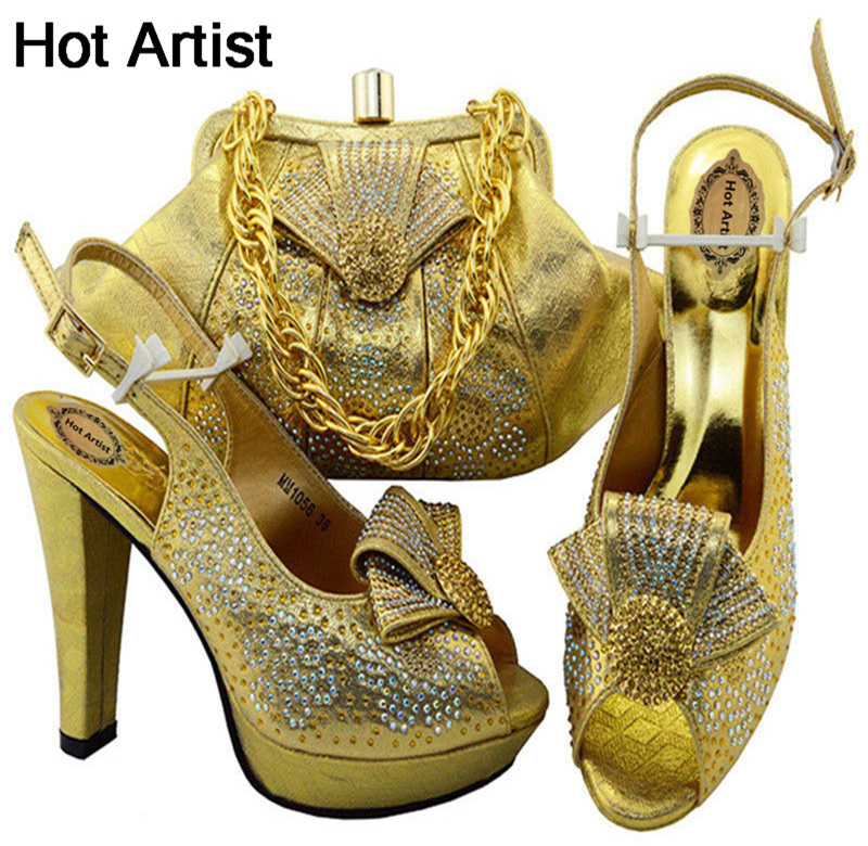 Hot Artist Free Shipping Gold Color Women's Shoes And Bags Set For Party High Quality Italian Lady Shoes And Bags Set MM1056 th16 38 gold free shipping high quality lady italian matching shoes and bag set for wedding and party in wholesale price
