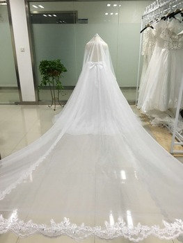 3 Meters Ivory/White Bridal Veils Lace Edge Flowers Tulle Cathedral Wedding Veils Long Veu de Noiva 2018 Wedding Accessories BV6