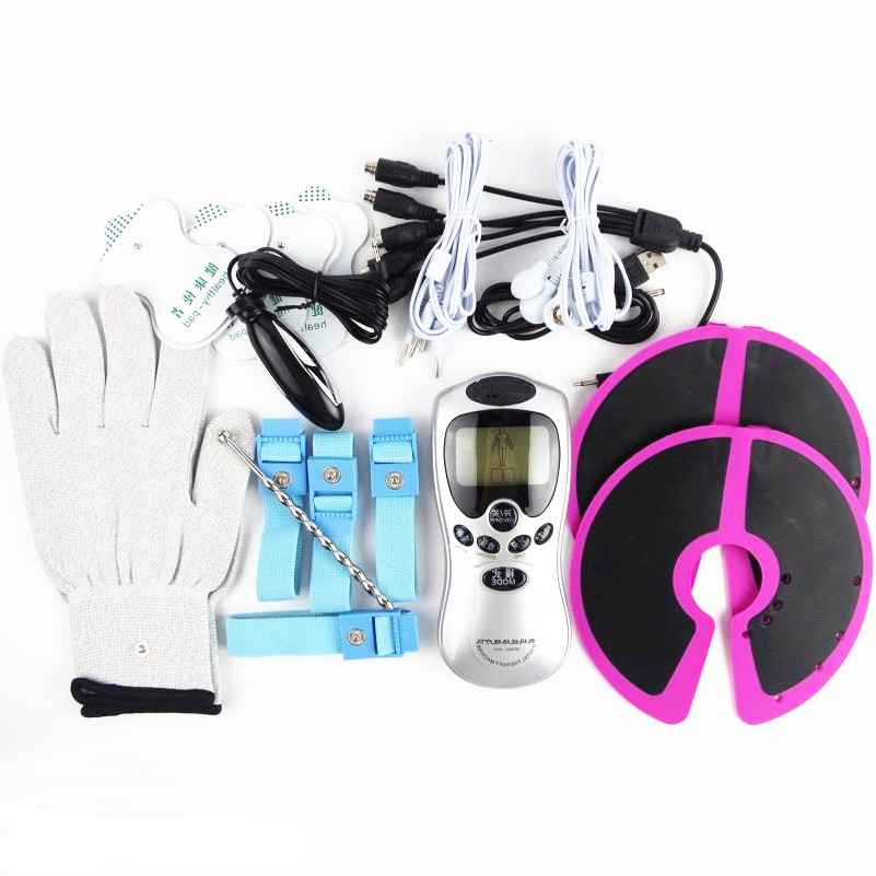 6 in 1 Adult Toys Electro Shock Kits Penis Cock Ring Breast Massager Gloves Anal Vaginal Massage Urethra Plug BDSM Toys For Coup electro thermal massager in autumn