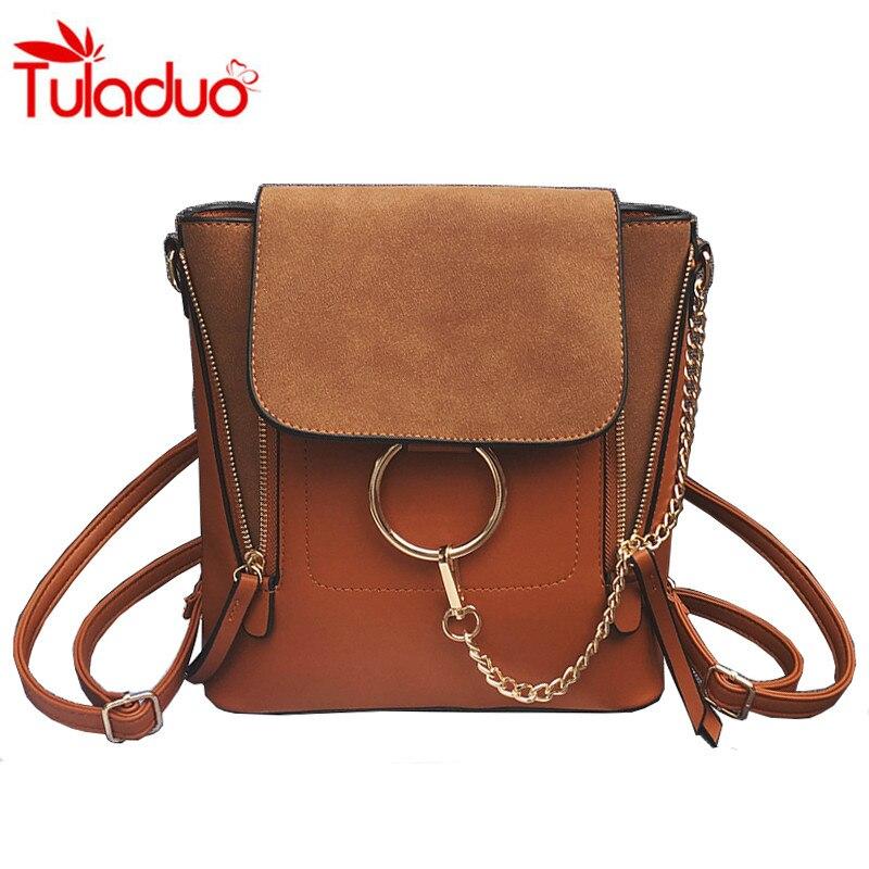 Multifunctional Backpack Double Zipper Chain Ring Shoulder Bags For Women Vintage Nubuck Leather Bags Women Shoulder