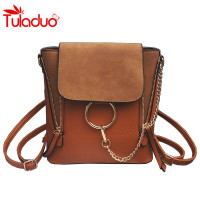 Multifunctional Backpack Double Zipper Chain Ring Shoulder Bags For Women Vintage Nubuck Leather Bags Women Messenger