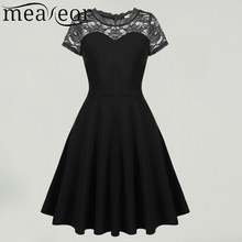 865cf8c5cd Meaneor Women O-Neck Short Sleeve Lace Patchwork Cocktail Party Swing Skater  Dress 2018 Spring Summer New Ladies Femme Dresses