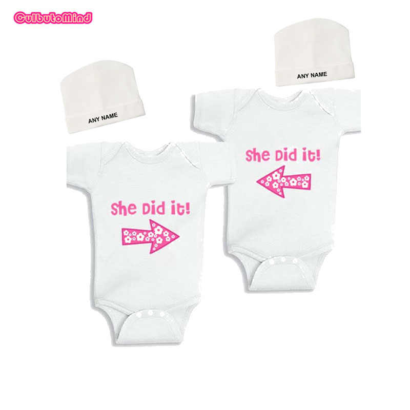 50e1c20fbcf9f Culbutomind Set of 2 Twins Baby Bodysuits Summer Cotton Short Sleeve Baby  Boys Girls Clothes with Personalized Beanie for 0-12M