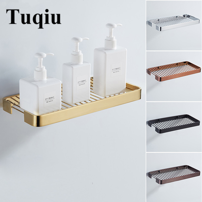 Bathroom Shelf Brass Bathroom Shower Rack Square Bath Shower Shelf Bath Shower Caddy Rack Holder Wall Mounted Corner Shelf
